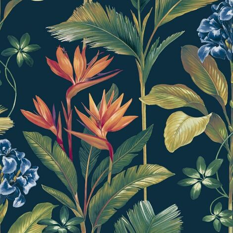 Oliana Navy Wallpaper Belgravia Decor Green Blue Floral Tropical