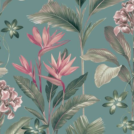 Oliana Teal Wallpaper Belgravia Decor Green Blue Pink Floral Tropical