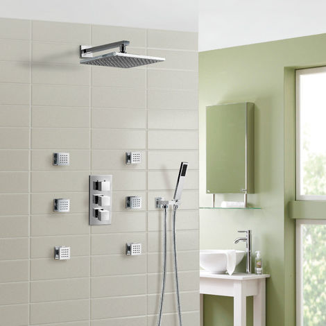 OLIVE 3 WAY SQUARE CONCEALED THERMOSTATIC MIXER VALVE HAND HELD SHOWER BODY JET