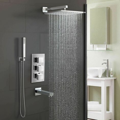 OLIVE BATHROOM 3 DIAL 3 WAY CONCEALED SQUARE THERMOSTATIC SHOWER MIXER VALVE CHROME
