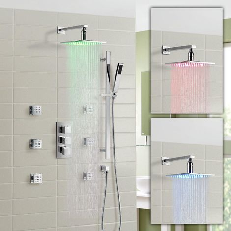 Olive Bathroom Concealed 3 Way Thermostatic Shower Mixer Hydro Power Led Head & Massager Jet