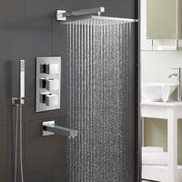 Olive Chrome Square 3 Way Concealed Thermostatic Shower Mixer Set - Shower Head, Handset & Bath Filler Spout