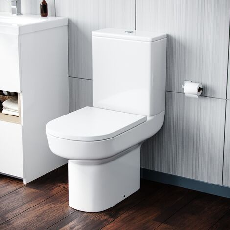 Olive Modern Rimless Close Coupled Toilet and Cistern Soft Close Seat WC