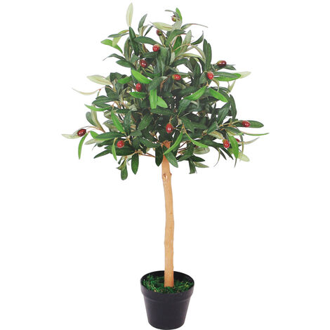 Olive Olivenbaum Kunstbaum Künstliche Pflanze mit Echtholz 90cm Decovego