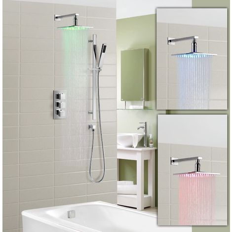 Olive Square 3 Way Concealed Thermostatic Shower Mixer Set - Shower LED Head, Slider Rail Kit, Bath Filler & Waste