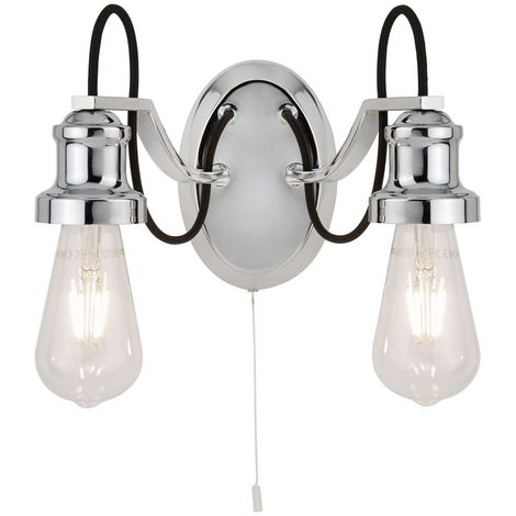 OLIVIA 2 LIGHT CEILING, BLACK BRAIDED FABRIC CABLE, CHROME