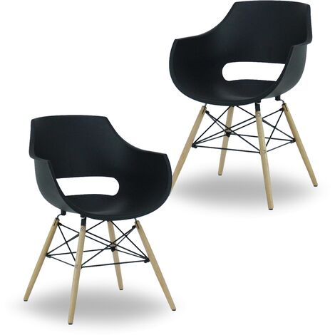 Olivia Dining Tub Chair | Retro Style | Curved Seat | Eiffel Style Design | SET OF 2 | Black