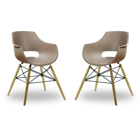 Olivia Dining Tub Chair | Retro Style | Curved Seat | Eiffel Style Design | SET OF 2 | Brown