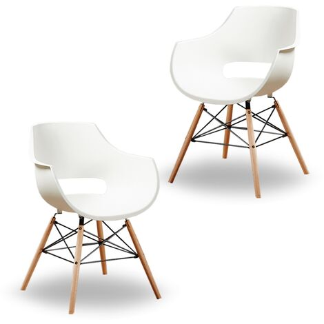 Olivia Dining Tub Chair | Retro Style | Curved Seat | Eiffel Style Design | SET OF 2 | Cream