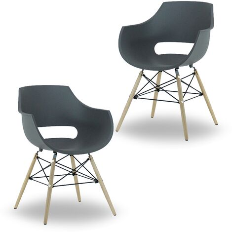 Olivia Dining Tub Chair | Retro Style | Curved Seat | Eiffel Style Design | SET OF 2 | Grey