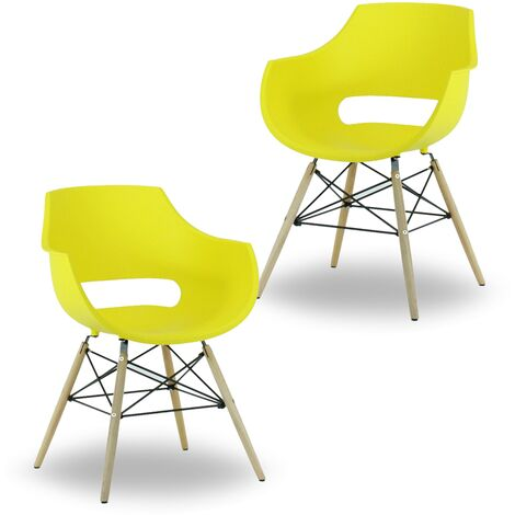 Olivia Dining Tub Chair | Retro Style | Curved Seat | Eiffel Style Design | SET OF 2 | Yellow