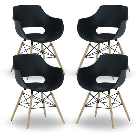 Olivia Dining Tub Chair | Retro Style | Curved Seat | Eiffel Style Design | SET OF 4 | BLACK