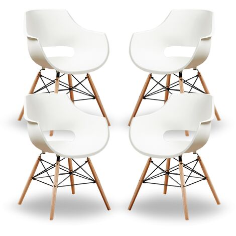 Olivia Dining Tub Chair | Retro Style | Curved Seat | Eiffel Style Design | SET OF 4 | CREAM