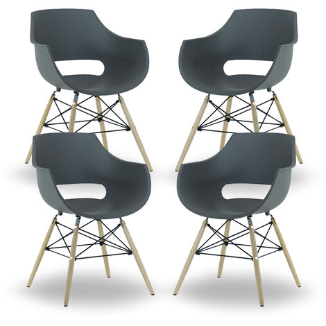 Olivia Dining Tub Chair | Retro Style | Curved Seat | Eiffel Style Design | SET OF 4 | GREY