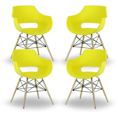 Olivia Dining Tub Chair | Retro Style | Curved Seat | Eiffel Style Design | SET OF 4 | YELLOW