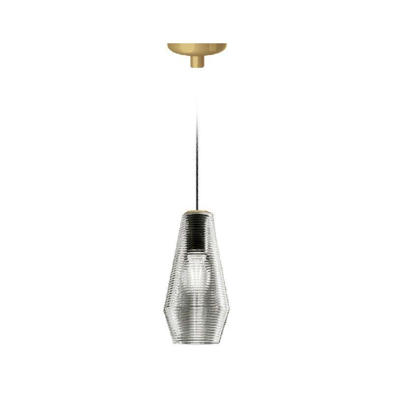 Homemania - Olivia Haengelampe - Kronleuchter - Deckenkronleuchter - Gold, Grau aus Glas, 13 x 13 x 27,4 cm, 1 x E27, Max 57W, 1050lm, 2700K, 220-240V