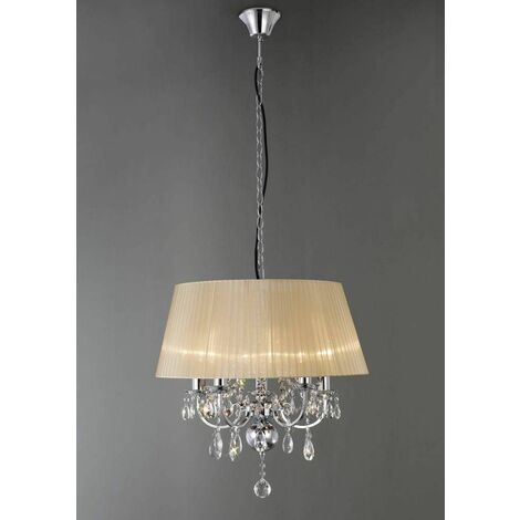 Olivia pendant light with bronze shade 5 lights polished chrome / crystal