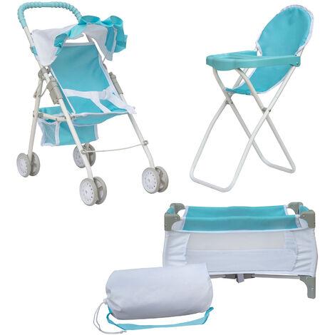 Olivia's Little World 3-in-1 Doll Pushchair Stroller, Doll High Chair & Cot Set OL-00013