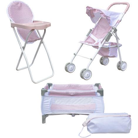 Olivia's Little World 3-in-1 Doll Pushchair Stroller, Doll High Chair & Cot Set OL-00014