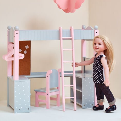 """main image of """"Olivias World Doll Wooden Furniture Polka Dots Double Bunk Bed Desk TD-0204AG"""""""