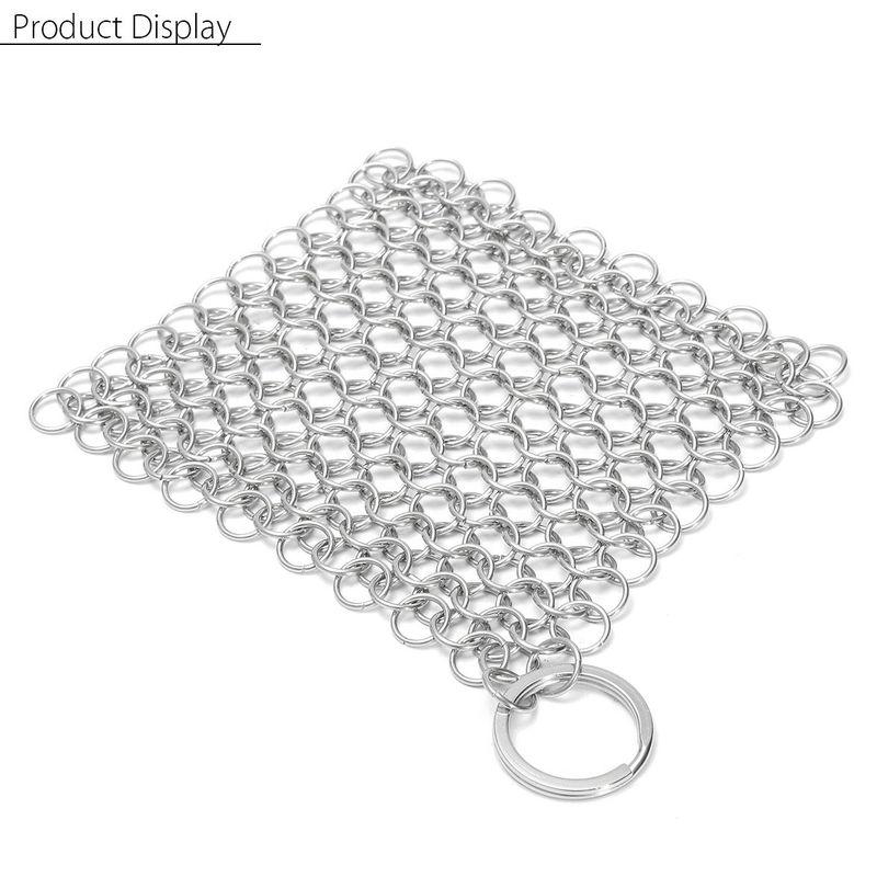 Olla de sartén limpiador de hierro fundido de malla de acero inoxidable de 4 '' x 4 '' Sasicare