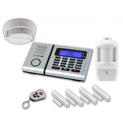 OLYMPIA Protect 6060 plus Alarmanlagen Set mit 4 Tür-/Fensterkontakten Rauchmelder und Bewegungsmelder