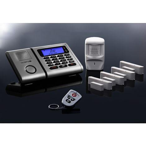 OLYMPIA Protect 6061 Drahtloses Alarmanlagen-Set mit 4 Tür-/Fensterkontakten und Bewegungsmelder