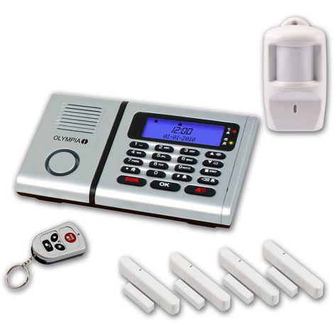 OLYMPIA Protect 6061 Funk Alarmanlage 4 Tür-/Fensterkontakte und Bewegungsmelder