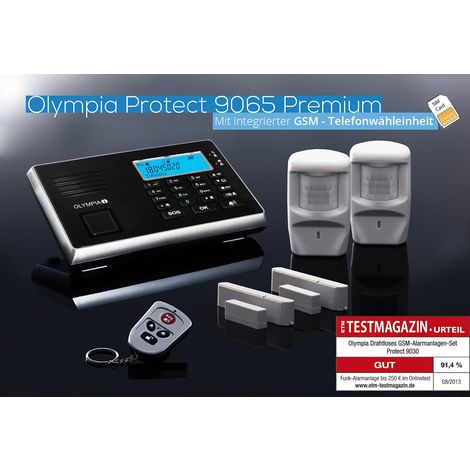 OLYMPIA Protect 90311 Premium Starter-Set Funk- und GSM Alarmanlage mit 2 Bewegungsmeldern