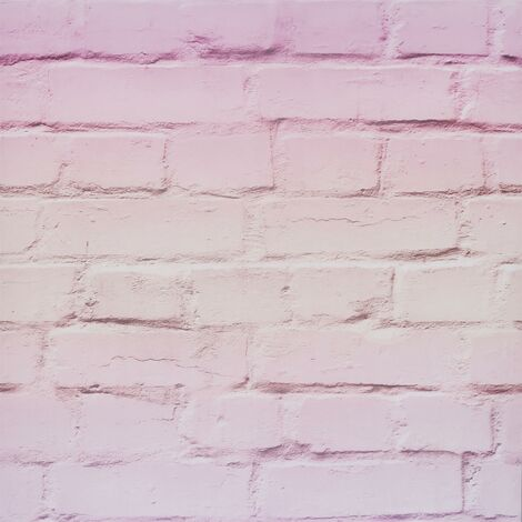 Ombre Brick 3D Effect Wallpaper Arthouse Pastel Pink Stone Industrial