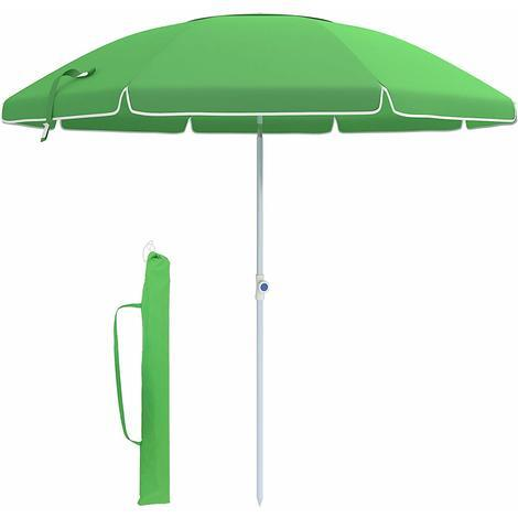 Ombrelloni Da Sole Per Giardino.Ombrellone 210cm Verde Parasole Da Spiaggia Protezione Dal Sole Tela In Poliestere Ottagonale Con Meccanismo Di Reclinazione Borsa Da Trasporto
