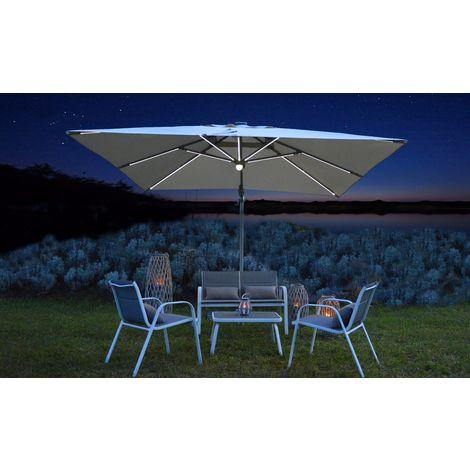 Ombrellone ELICRISO 4x3mt decentrato in alluminio con LED e speaker bluetooth