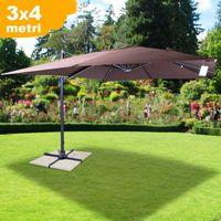 Ombrellone Giardino Decentrato 3x4 Palo Alluminio Inclinabile Coffee Coveri