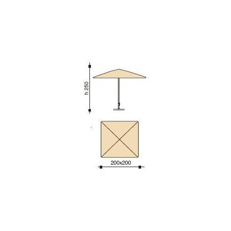 Maffei ombrellone palo centrale Kronos Art.136Q grigio poliestere 200x200 cm