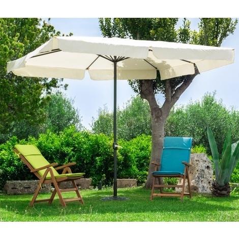 Ombrellone quadrato 3x3 in alluminio nero tela ecrù da giardino terrazzo bar campeggio con trattamento antiruggine