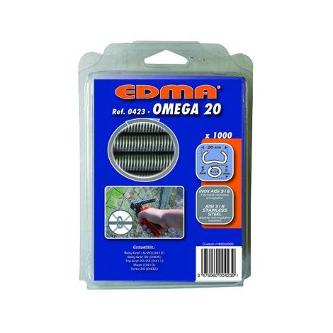 OMEGA 20 STAPLES - AISI 316 stainless steel - 1000 pcs