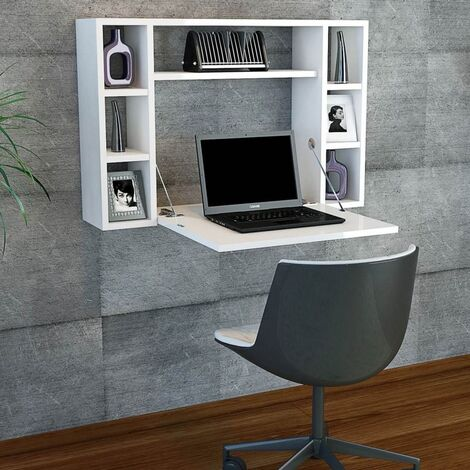 Omega Wall Folding Desk - with Shelves - for Office, Bedroom - Walnut, White, made in Wood, 90 x 19,5 x 60 cm