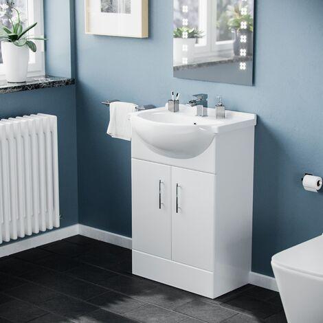 Omile Freestanding White Bathroom Ceramic Basin Sink Vanity Unit Cabinet