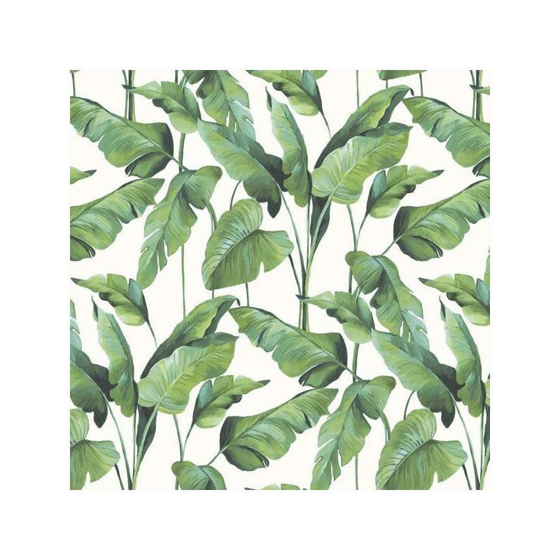 Image of On The Spot Tropical Leaf Wallpaper Green White Jungle Paste The Wall Vinyl - BN