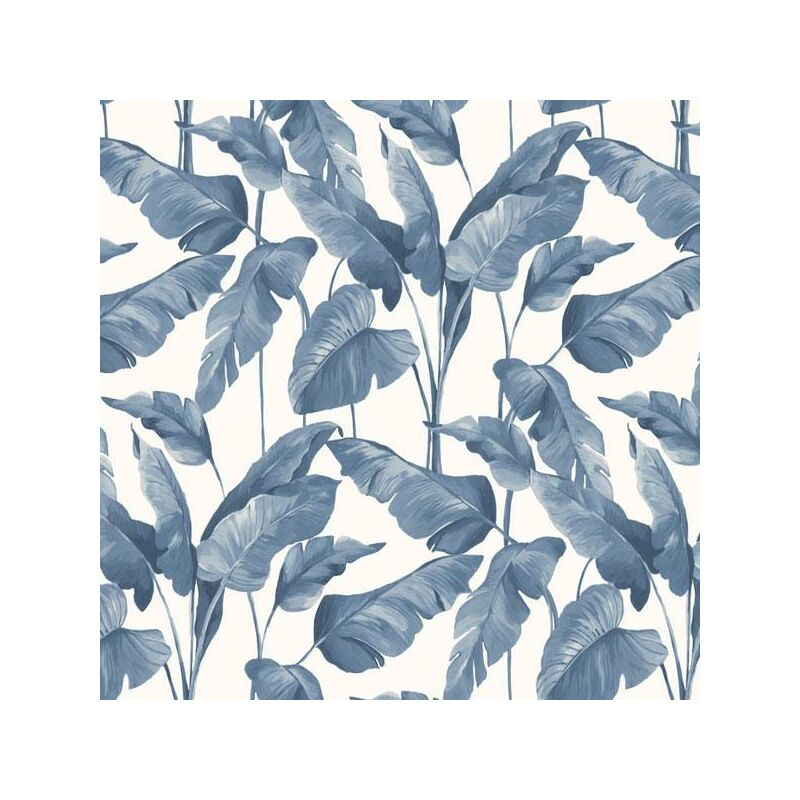 Image of On The Spot Tropical Leaf Wallpaper BN Navy White Jungle Paste The Wall Vinyl