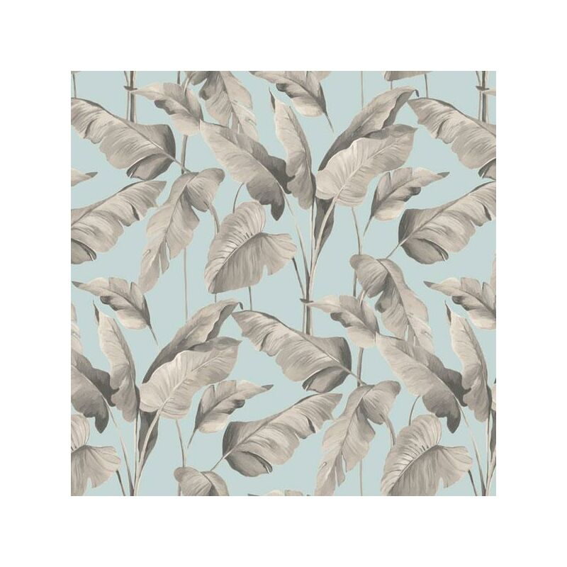 Image of On The Spot Tropical Leaf Wallpaper Teal Grey Jungle Paste The Wall Vinyl - BN