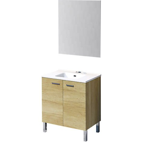 Conjunto Ona de mueble de baño con espejo y lavamanos cerámico, de dos puertas, color roble natur, 80 x 46 x 82.