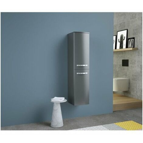 ONDE Colonne de salle de bain L 30cm - Gris brillant