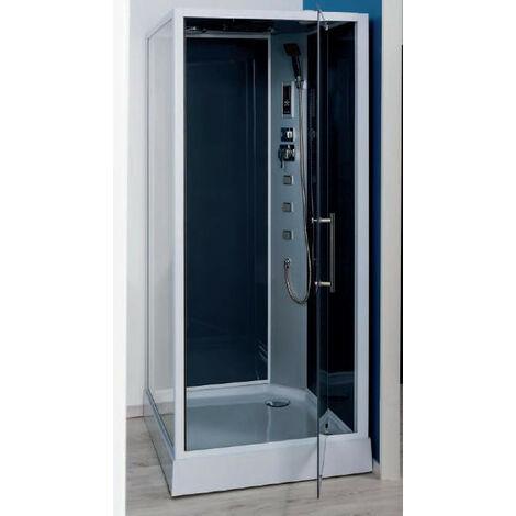 Ondée - Cabine de douche accès de face transparent porte pivotante 90x90cm avec radio FM - NIKY