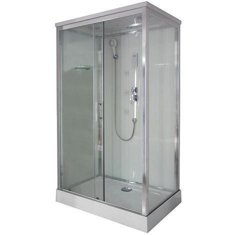 Ondée - Cabine de douche rectangulaire 120 x 80 cm porte coulissante verre transparent - HYNA