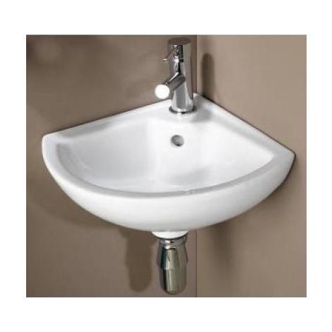 Ondée - Lave-mains d'angle en porcelaine blanche - PIVOINE