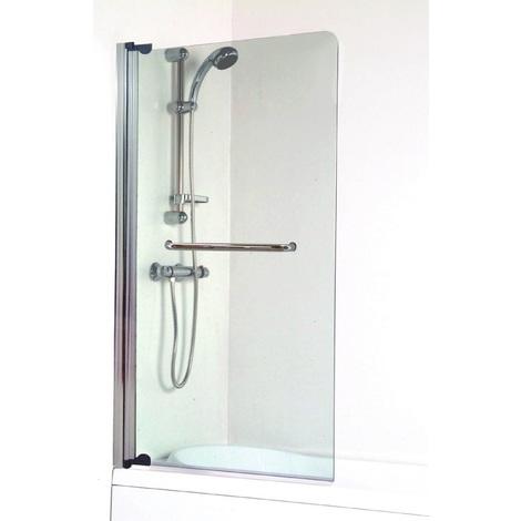 Ondée - Pare baignoire 1 volet transparence 4 mm aluminium chromé avec porte serviette - SANDRA