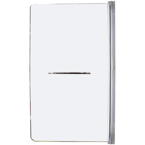 Ondée - Pare baignoire 1 volet transparence 5 mm aluminium chromé avec porte serviette - ICY