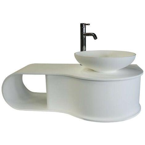 Ondée - Plan vasque en solid surface 100 x 50 cm blanc mat avec niche de rangement - SNOW