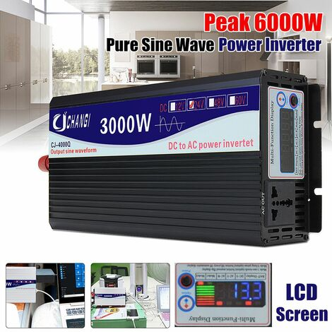 Onduleur 12V 220V transformateur de tension intelligent Onduleur solaire à onde sinuso?dale pure (noir, 3000W 24V-220V)